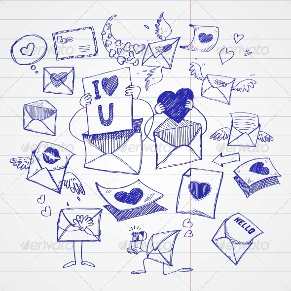 GraphicRiver Doodle Style Mail Message or Envelope 6578129