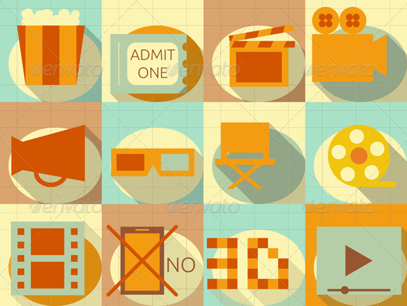 GraphicRiver Flat Movie Icons Set 6578414