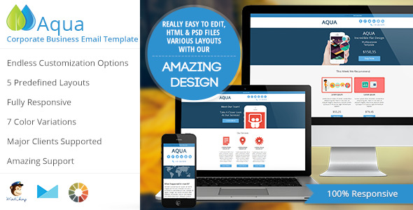 Aqua - Corporate Flat Email Template - Newsletters Email Templates