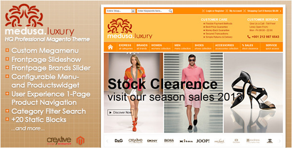Exdress-Medusa Luxury Fashion Store Magento Theme - Magento eCommerce
