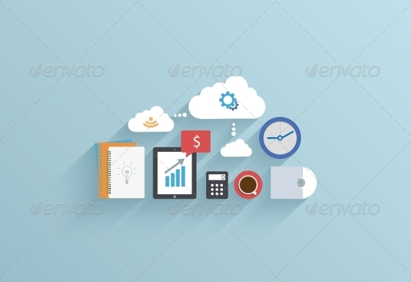 GraphicRiver Flat UI Icon on Blue Background 6580661