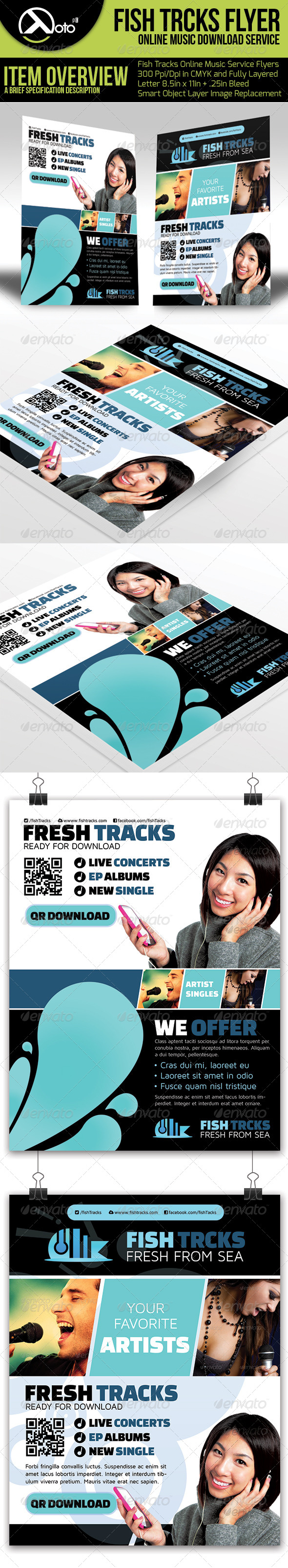 GraphicRiver Fish Tracks Online Music Store Flyers 6581090