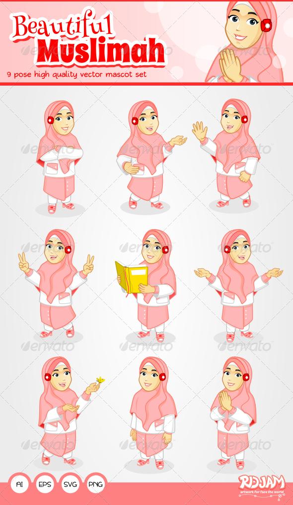 GraphicRiver Beautiful Muslimah Mascot Set 6583040