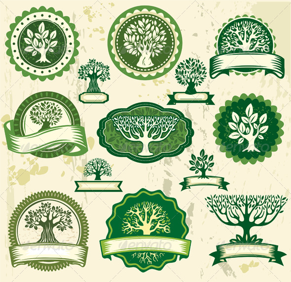 GraphicRiver Set Vintage Labels with Trees 6584352