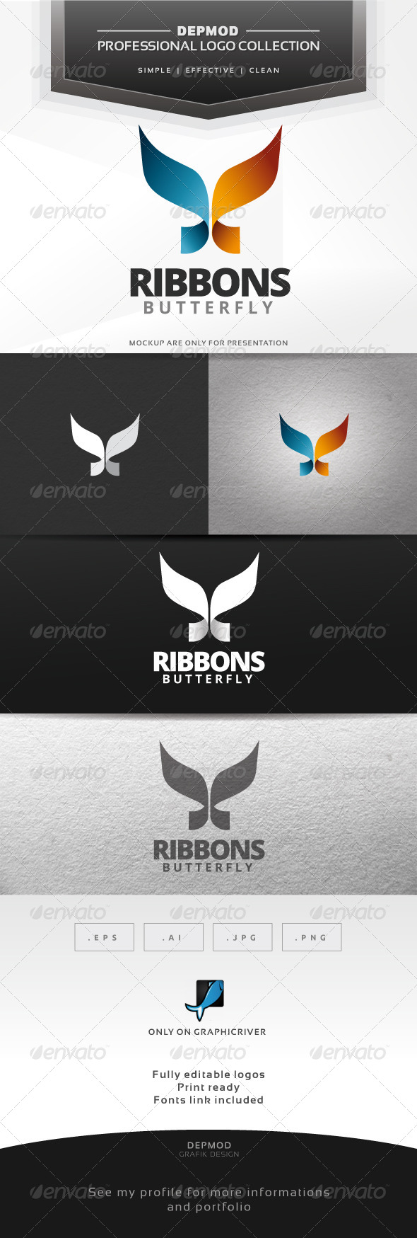 GraphicRiver Ribbons Butterfly Logo 6584388