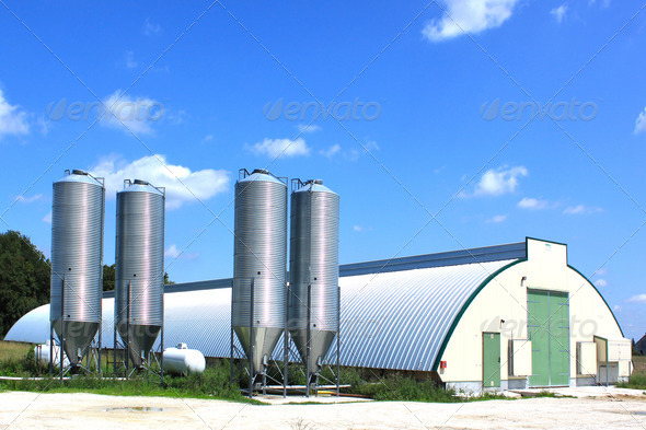 shed and silos - Stock Photo - Images