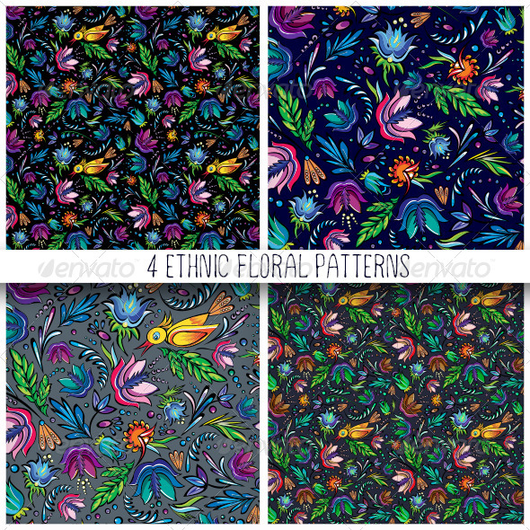 GraphicRiver 4 Seamless Cartoon Floral Patterns 6586363