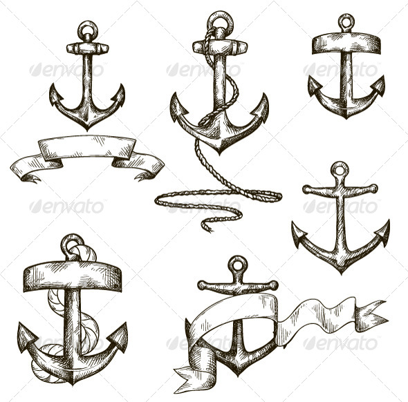 GraphicRiver Set of Hand Drawn Anchors and Ribbons 6586713