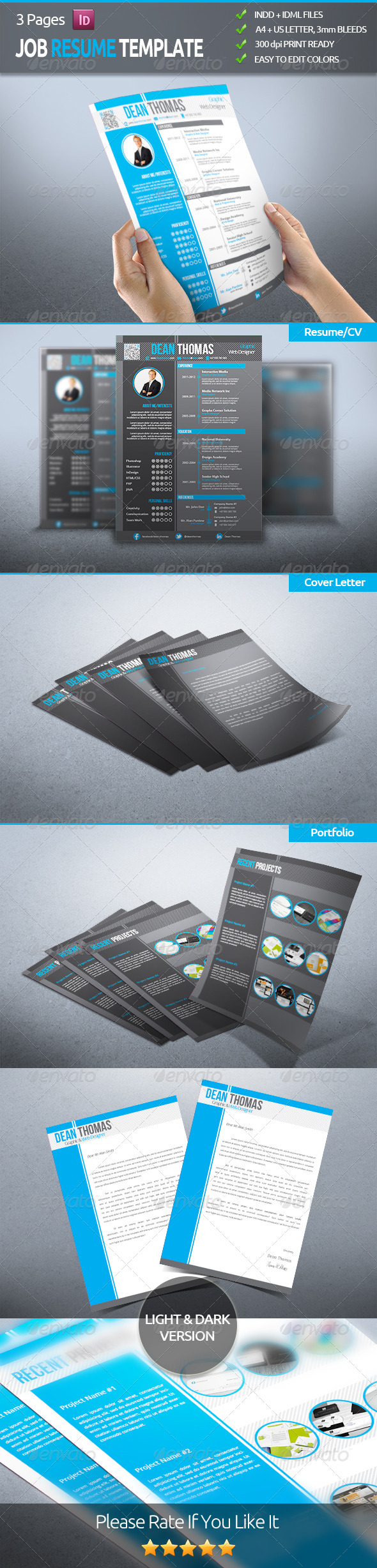 GraphicRiver Job Resume CV Template 5195393