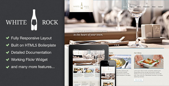 White Rock - Restaurant & Winery Site Template - Restaurants & Cafes Entertainment
