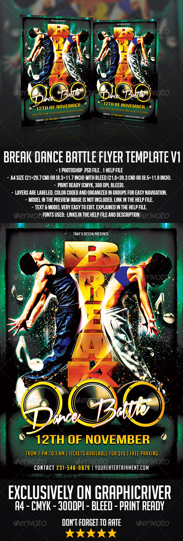 Break Dance Battle Flyer Template V1 - Clubs & Parties Events
