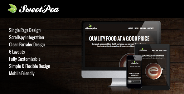 Sweet Pea - Responsive HTML One Page Template - Creative Site Templates