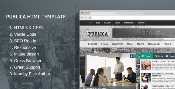 preview.  large preview Publica Responsive HTML Template (Technology)