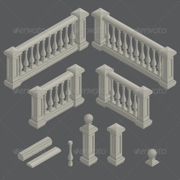 GraphicRiver Set of Architectural Element Balustrade 6589388