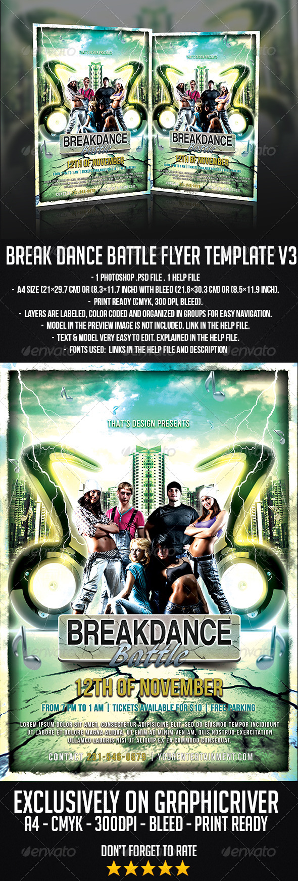 Break Dance Battle Flyer Template V3 - Miscellaneous Events
