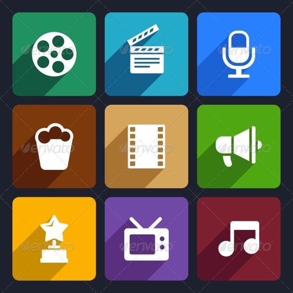 GraphicRiver Movie Flat Icons Set 37 6590613