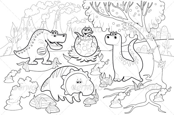 GraphicRiver Dinosaurs in a Prehistoric Landscape 6590935