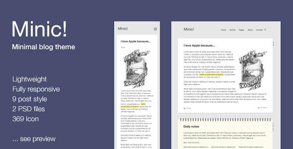 ThemeForest Minic Responsive Minimal Blog Template 6559270