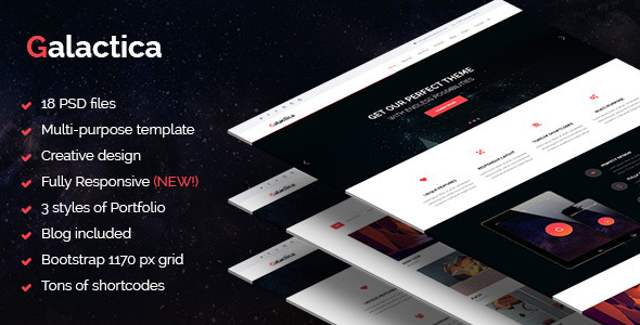 Galactica – Multi-purpose Creative PSD Template - Creative PSD Templates