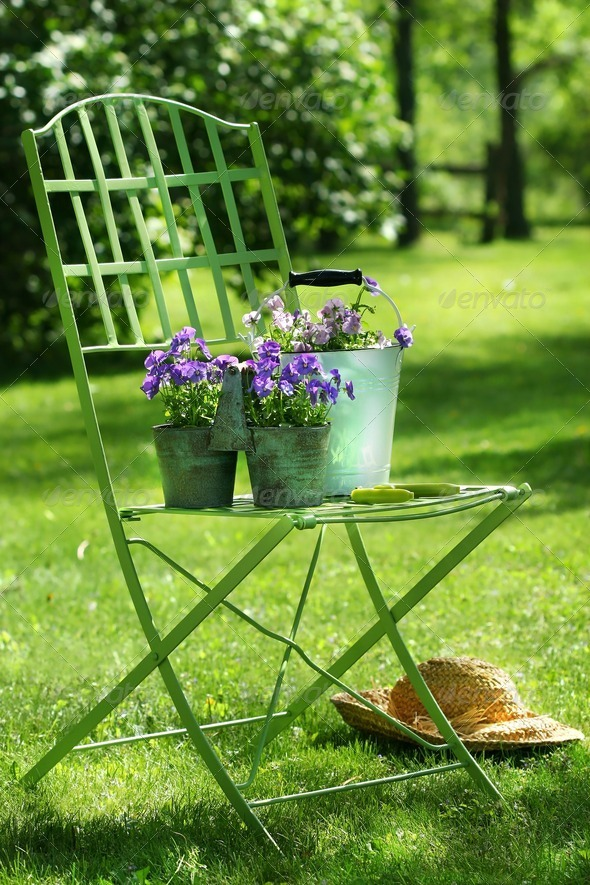 Green garden chair - Stock Photo - Images