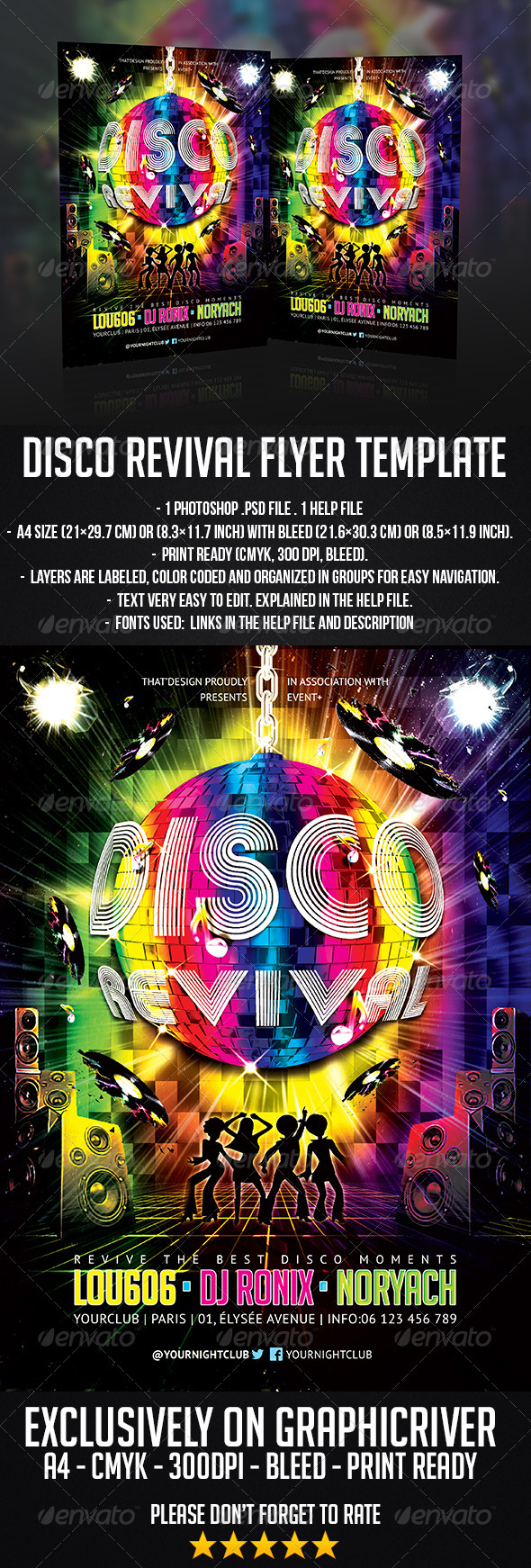 Disco Revival Flyer Template - Clubs & Parties Events