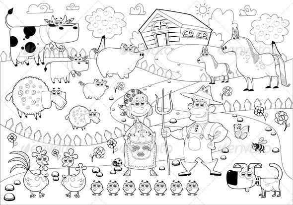 GraphicRiver Farm Family in Black and White 6592906