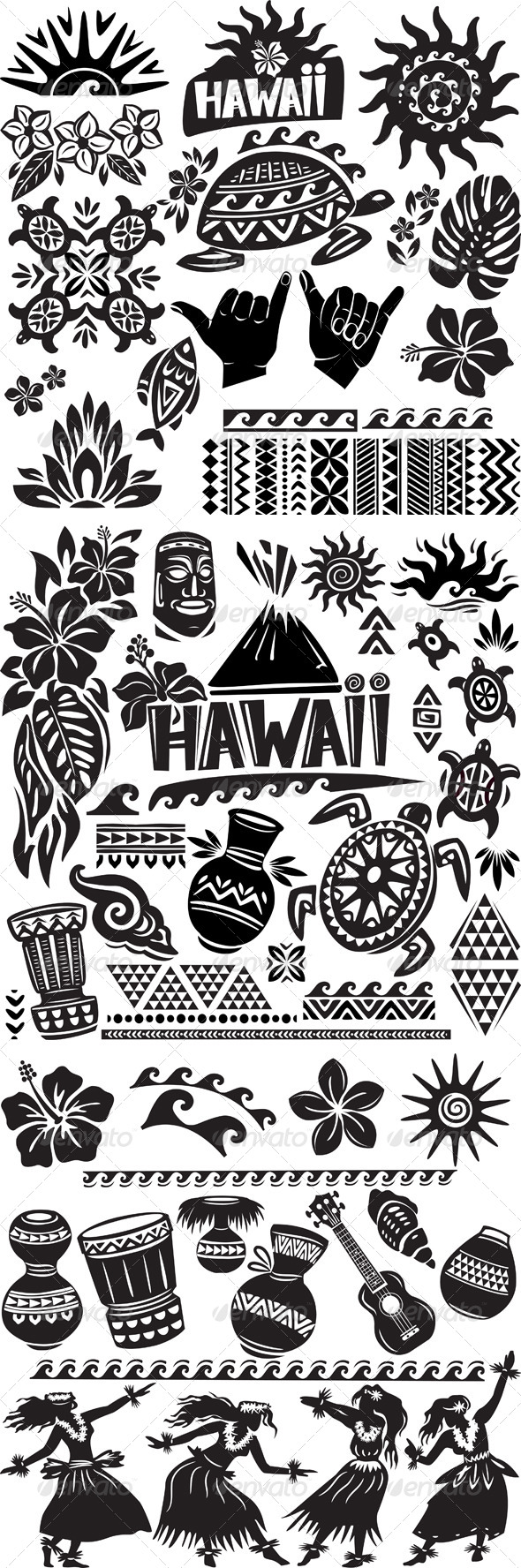 GraphicRiver Hawaii Set in Black and White 6592976