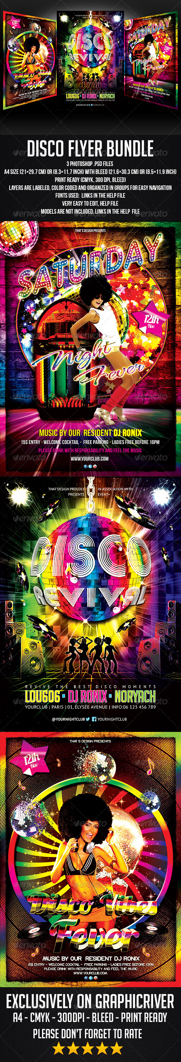 Disco Flyer Bundle - Clubs & Parties Events