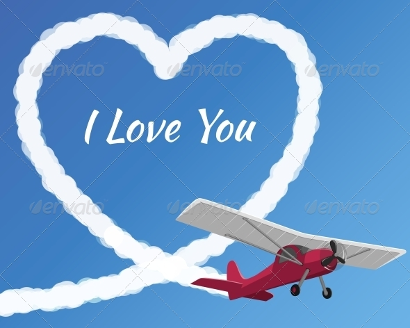 GraphicRiver Airplane Drawing a Cloudy Love 6594084