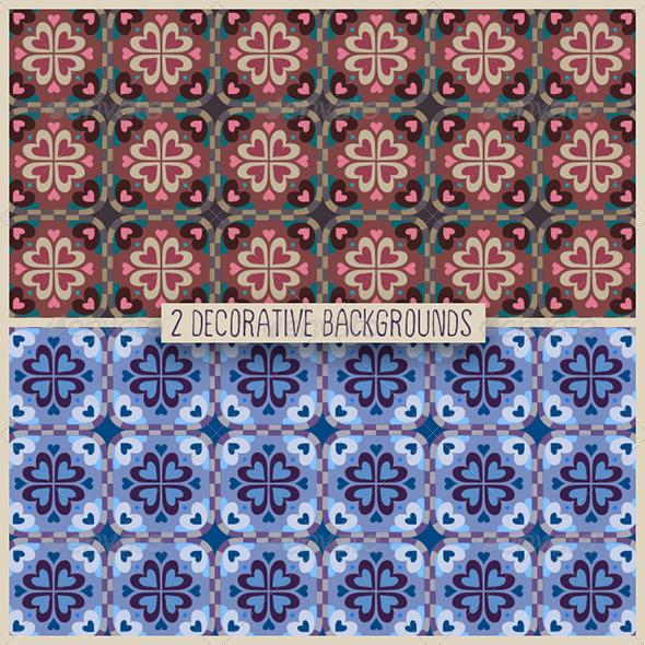 GraphicRiver 2 Decorative Heart Patterns 6585622
