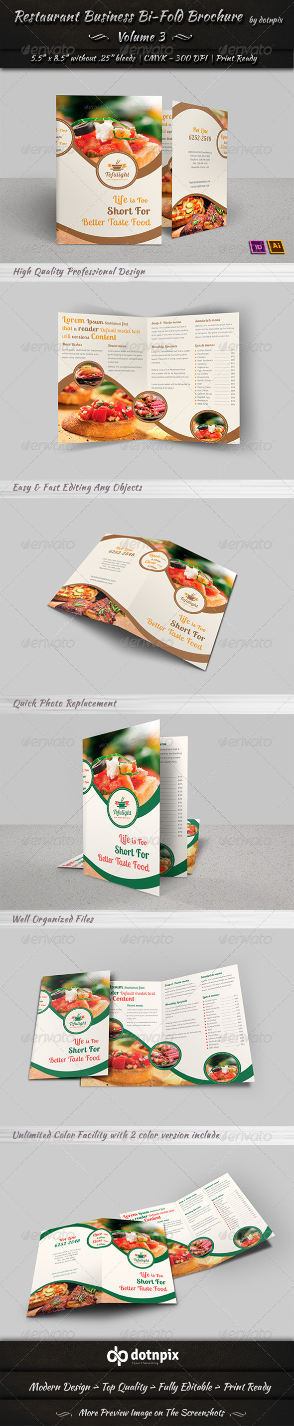 GraphicRiver Restaurant Business Bi-Fold Brochure Volume 3 6597415