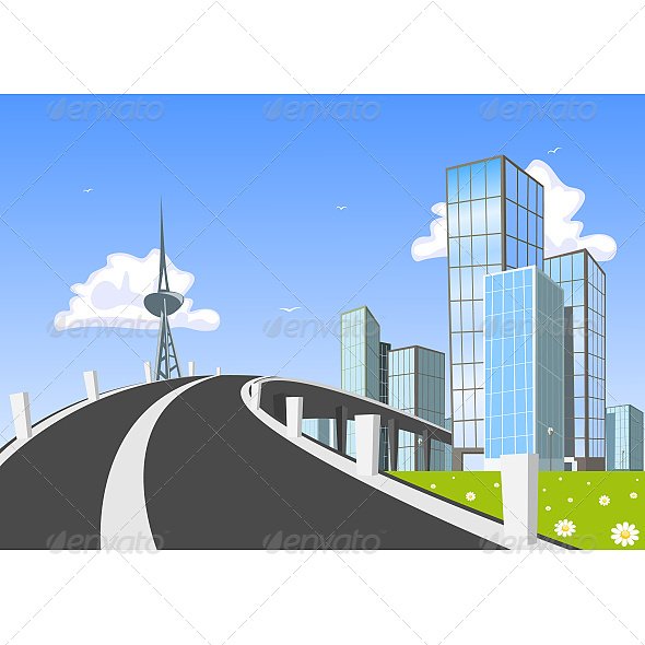 GraphicRiver Road into Town 6599888