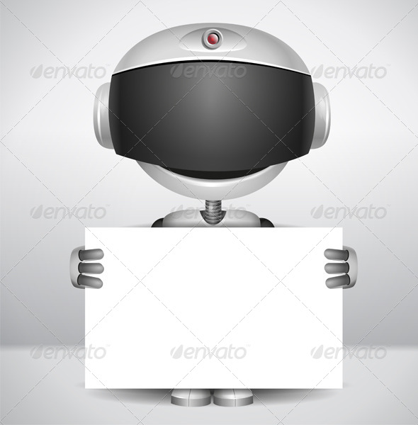 GraphicRiver Robot holding Paper 6600002