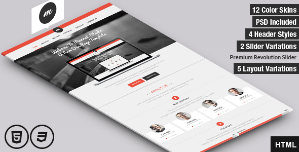 ThemeForest Mannat Studio Flat Clean One Page HTML Template 6596510
