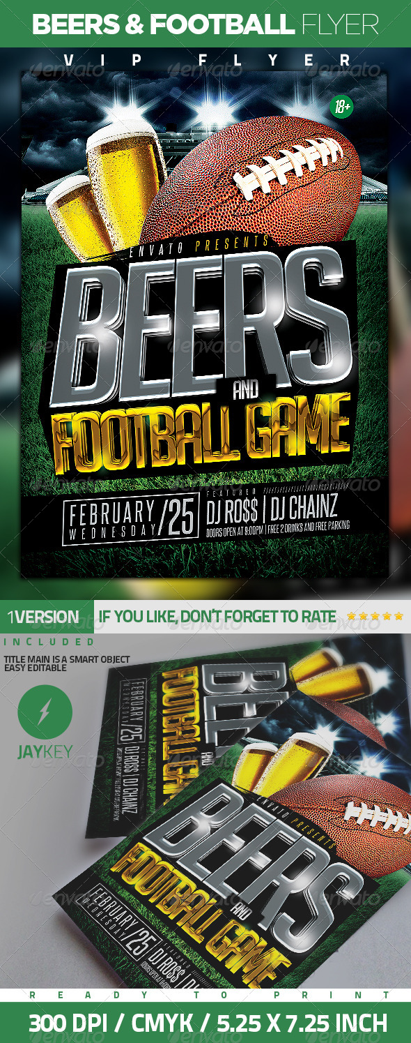 GraphicRiver Beers and Football Flyer 6593582