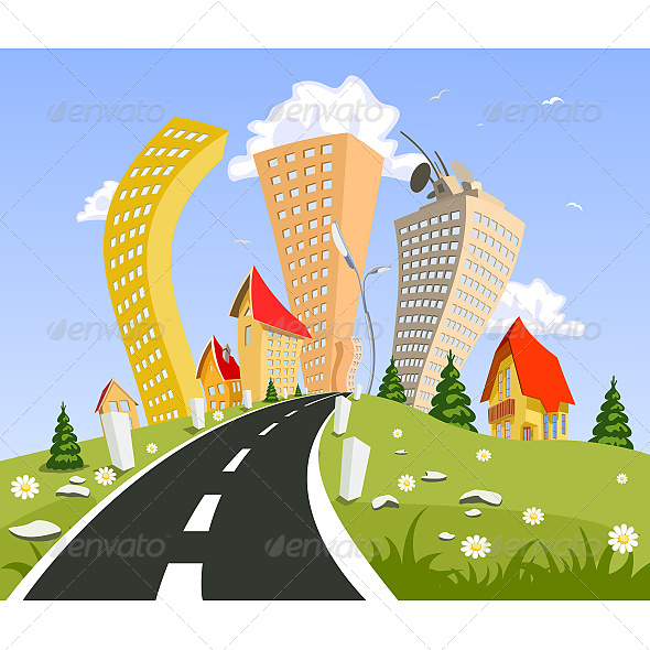 GraphicRiver Abstract City Surrounded by Nature Landscape 6601870
