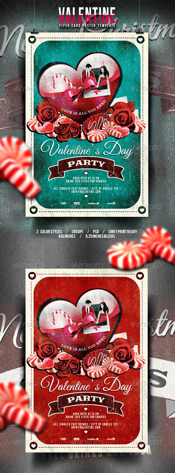 GraphicRiver Valentine s Day Flyer Poster Vintage Vol.1 6601871