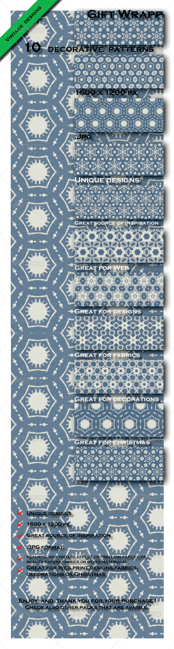 GraphicRiver 10 Gift Paper Models Patterns Pack 1 6603431