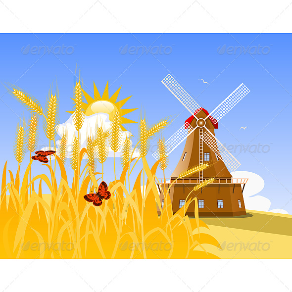 GraphicRiver Wheat Field and Mill 6603780