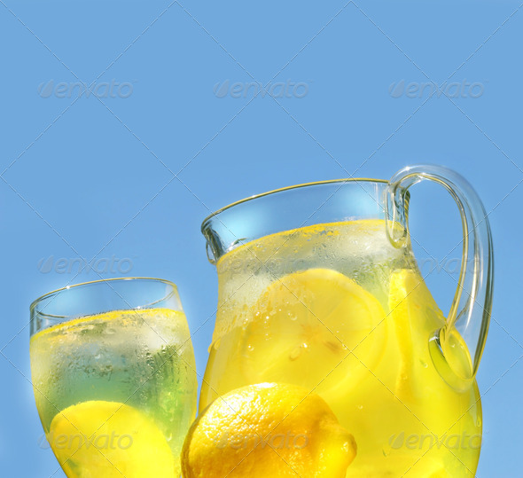 Cool lemonade on a hot summer day - Stock Photo - Images