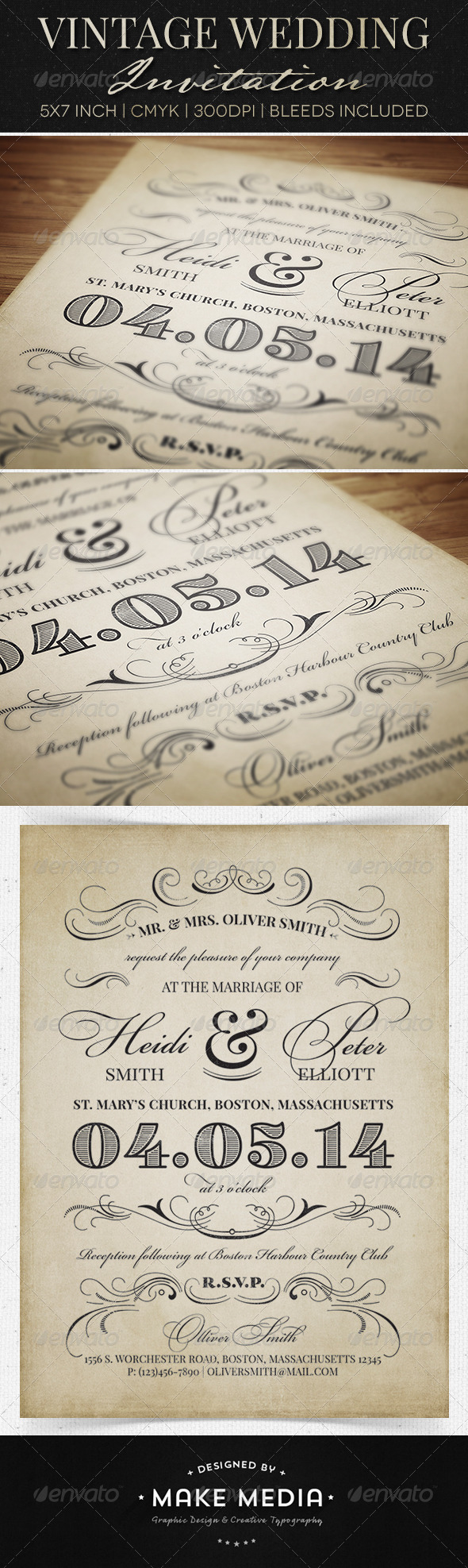 GraphicRiver Vintage Wedding Invitation 6603909