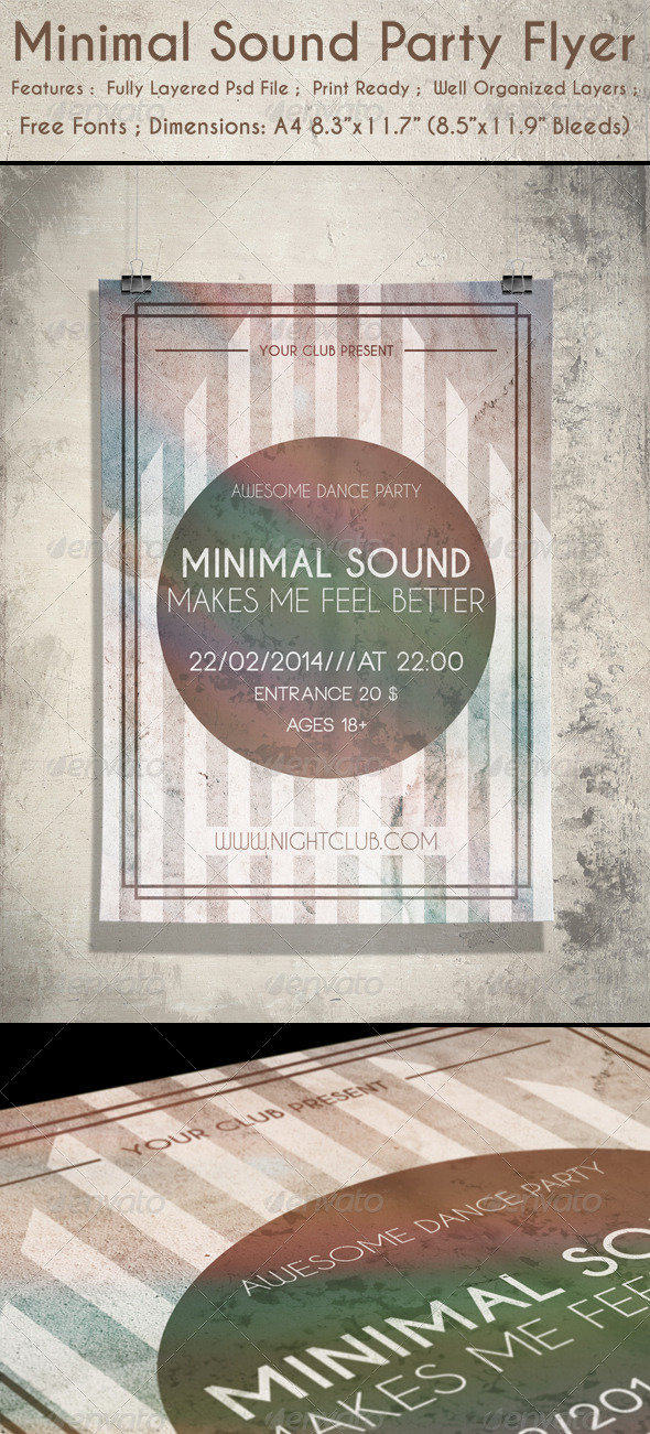 GraphicRiver Minimal Sound Party Flyer 6603967