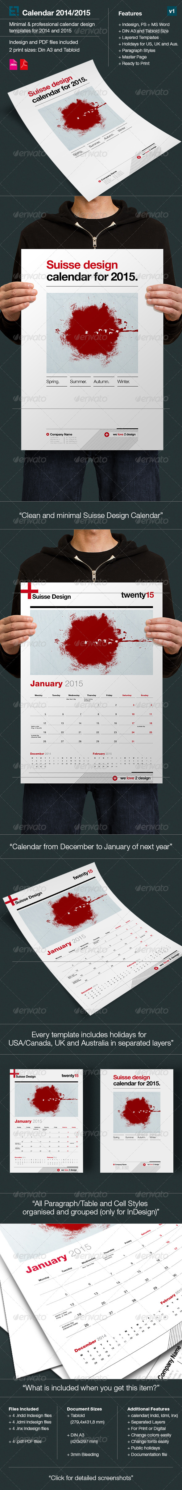 GraphicRiver Calendars 2014 2015 Swiss Design 6606269
