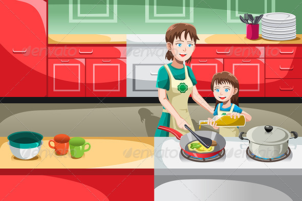 GraphicRiver Mother Daughter Cooking 6607276