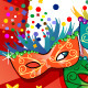 Colorful Masks Red Background - GraphicRiver Item for Sale