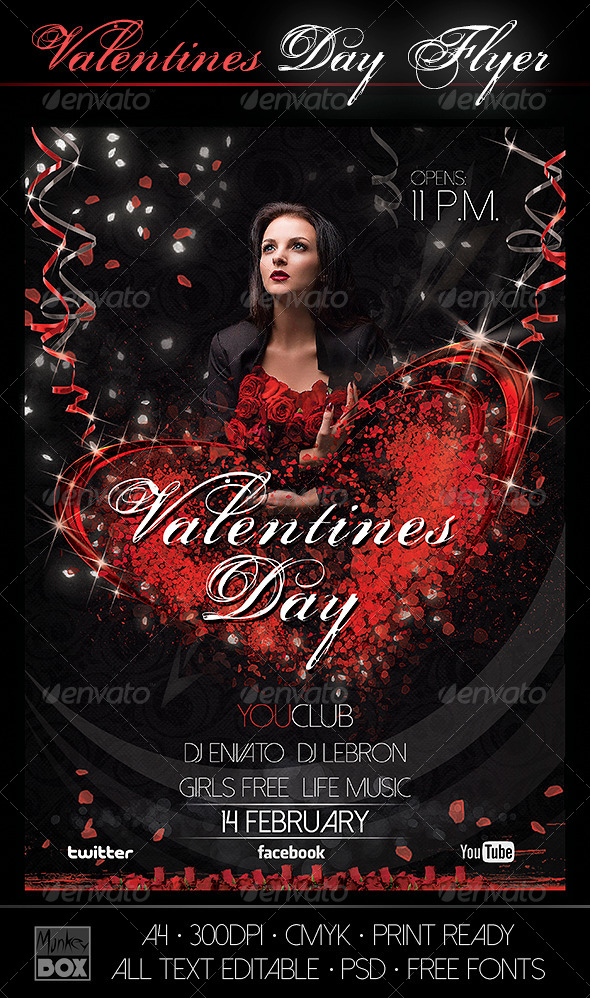 GraphicRiver Flyer Valentine`s Day 6602017