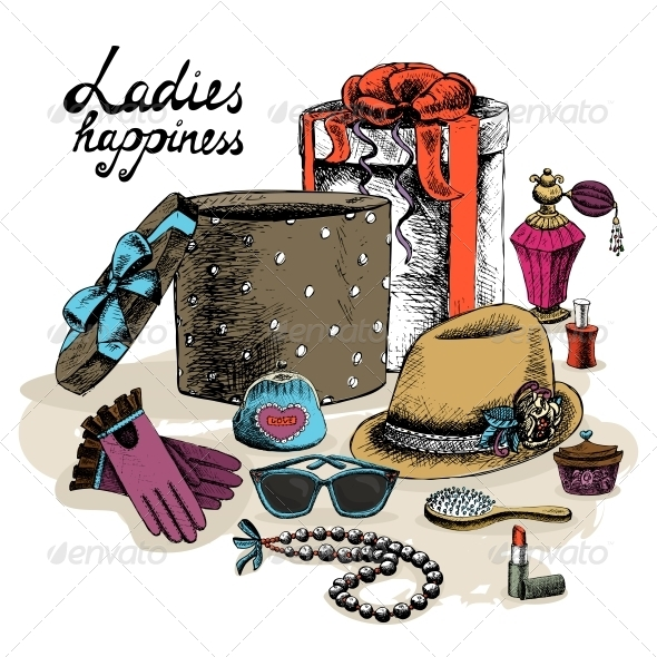 GraphicRiver Women s Accessories from Open Gift Box 6608202