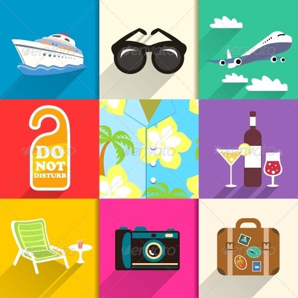 GraphicRiver Travel and Vacation Icons Set 6608234