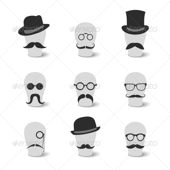 GraphicRiver Vintage Mustaches with Hats and Glasses 6608457