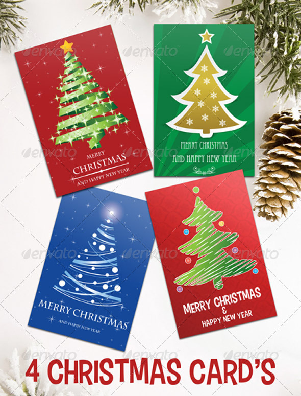 GraphicRiver Christmas Tree Cards 6417752